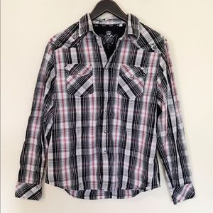 Guess Plaid Western Snap Shirt embroidered slim L